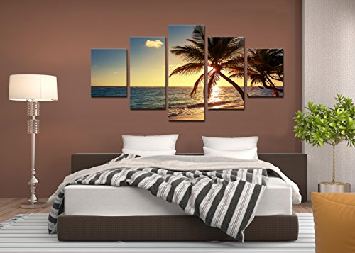 Cao Gen Decor Art-AS42739 5 panels Framed Wall Art Beach coconut tree Canvas (Beach Framed Poster)