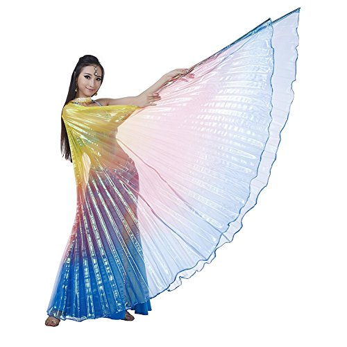 Dance Fairy Belly Dance Colorful Isis Angel Wings(Yellow,Red and Royal Blue Mixed No.11)(No (Angel Dance Costumes)