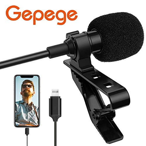 Gepege Microphone Professional for iPhone Grade Lavalier Lapel Omnidirectional Phone Audio Video Recording Lavalier Condenser Microphone (1.5m)