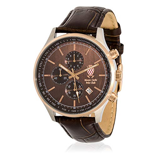 Monte Watch Carlo Leather (Monte-Carlo Polo Club Mens Classic Chronograph Watch with Brown Dial and Brown Croco Leather Strap)