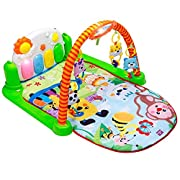 Tapiona Piano Play Gym For Baby Kick And Play Mat For Infants - Activity Mat For Boy And Girl 0-36 Month - 2 Modes Kick Piano, Mirror, 4 Rattle Toys