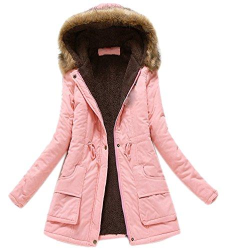 Abrigos de Cuello Chaqueta Minetom de Parka Invierno Capucha con Rosa Outwear Piel Las Caliente Mujeres Coats Largos txYqHA0Y
