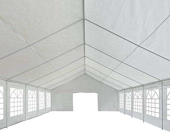 Tidyard Carpa de Jardín con Ventanas para Camping Fiesta Celebraciones Evento al Aire Libre Boda Fiest Barbacoa con Estructura de Acero Inoxidable Blanco 6x14m: Amazon.es: Hogar