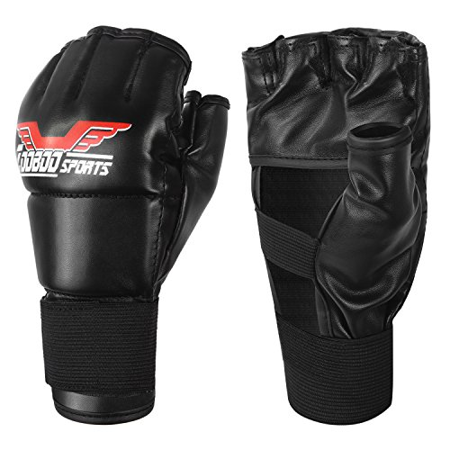 Kickboxing Gloves, ZooBoo Half Mitts with Adjustable Wrist Band Boxing Gloves for Men Women Kids MMA Sparring Punching Gym Muay Thai Protection Training