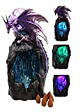 Purple Azure Quartz Dragon On Gemstone Mountain Backflow Incense Burner Figurine premium decor collectible figurine