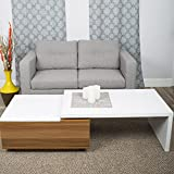 In the Mix MIX High Gloss Lacquer Laminate Wood Walnut/White Lift-Top Rectangular Coffee Table with Hidden Storage and Outter 360 Degree Swivel Extension