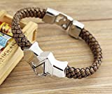 W.Air Assassin's Creed Pu Leather & Alloy Wristband Brown Bracelet