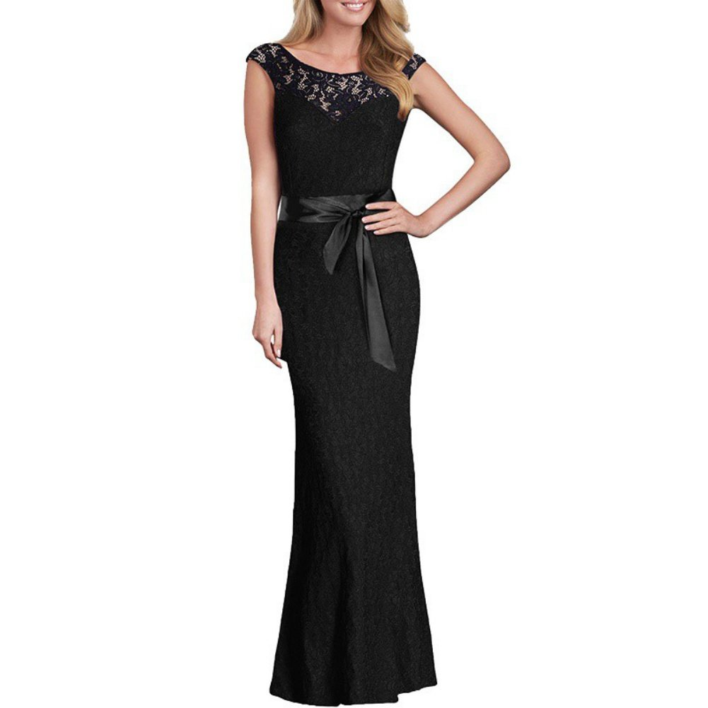Hengzhi Womens Vintage Lace Formal Prom Party Evening Open-Back Gown Wedding Bridesmaid Dress