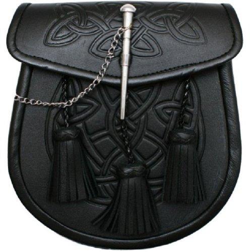 Tartanista Men's Celtic Pattern 3 Tassels Black Kilt Sporran & Belt