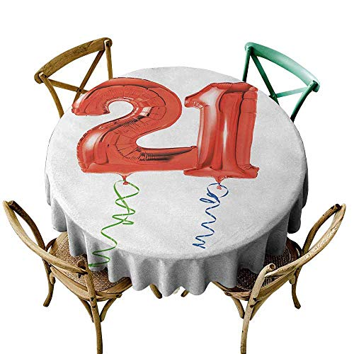 Zmlove 21st Birthday Camping Picnic Round Tablecloth Birthday Party with Flying Balloons with Curvy Endings Artwork Print Table Decoration Blue Green and Red (Round - 63