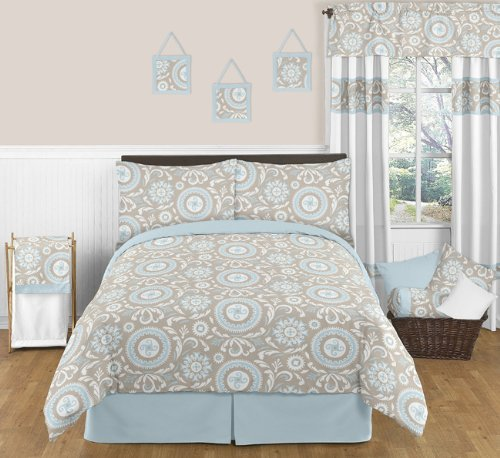 Sweet Jojo Designs 3-Piece Blue and Taupe Hayden Childrens and Kids Full / Queen Girl or Boy Bedding Set
