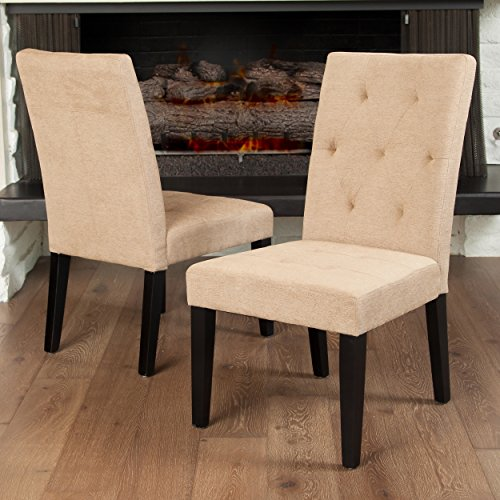 Reseda Stitched 2pk Dining Chair Upholstery: Linen-Cream