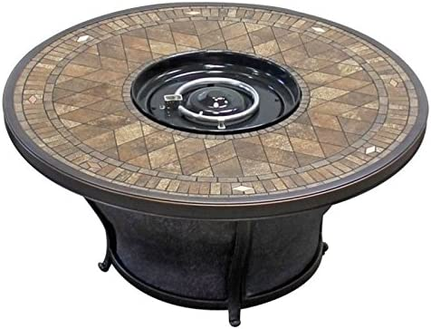 "B07CYJFTGN BOWERY HILL 48"" Round Gas Fire Pit Table in Porcelain Top 51uLPsXv1kL."