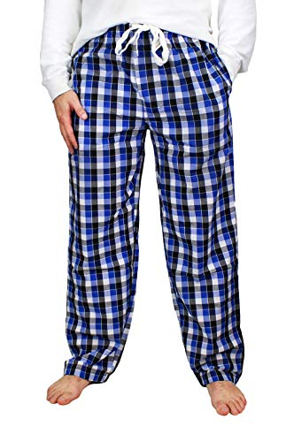 Fruit of the Loom Men's Woven Pajama Pant (Black/White/Blue Check, Large)