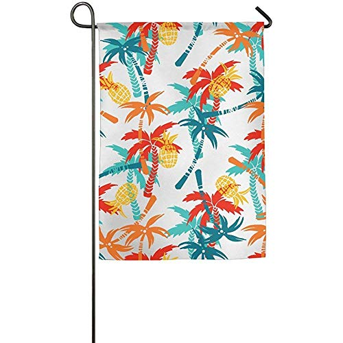 Coconut Palm Trees Fruits Pineapples Garden Flag Indoor Outdoor Decorative Flags For Parade Sports Game Family Party Wall Banner