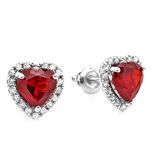 10K White Gold Deep Red Color Heart Shape Garnet & Round Cut Diamond Halo Stud (Gold Round Garnet Heart)