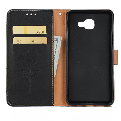 Olyee Galaxy A520 hülle, Leder PU Cover Magnet Flip Hülle Schutzhülle Kartensteckplätzen und Ständer Handytasche für handyhülle Galaxy A520 Black