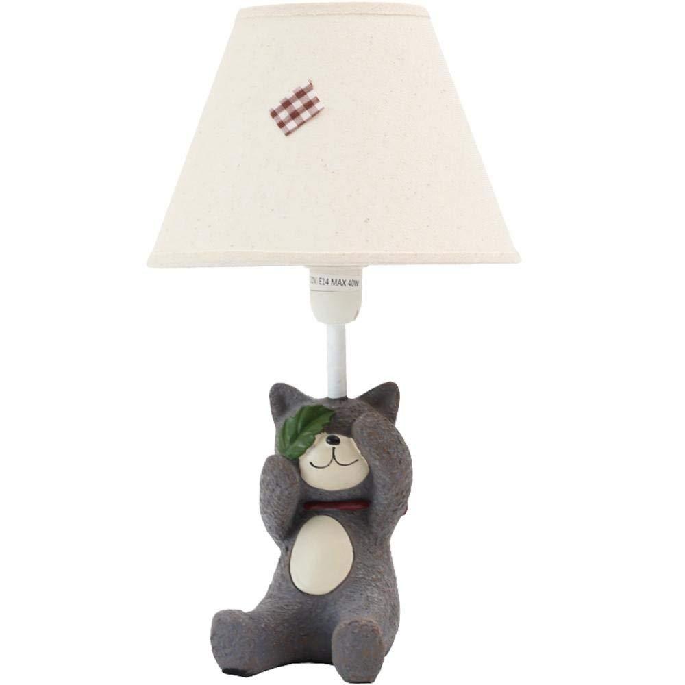Mariisay Creative Adorable Lebendige Schwarze Design Kinder Led Schreibtischlampe Led Nachtlicht Mit Hand gemäßten Und Fein Stoffschirm Kinder Geschenk Schlafzimmer Stu (Farbe   Colour-Größe)