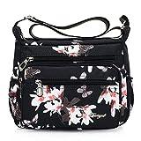 Nawoshow Nylon Floral Multi-Pocket Crossbody Purse Bags for Women Travel Shoulder Bag (Flower&Butterfly)