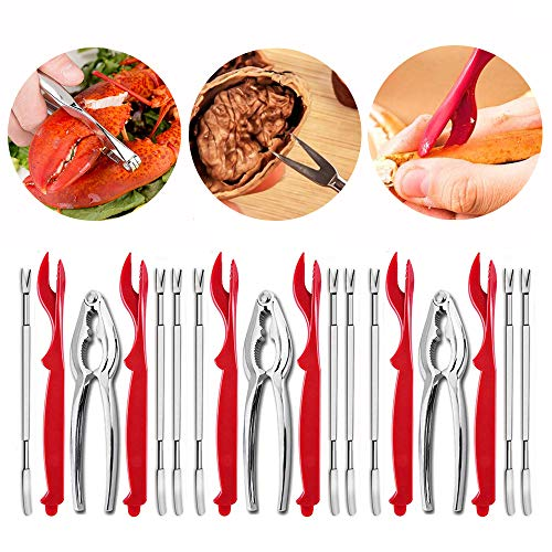 Lobster Crackers and Picks Set, 18PCS Seafood Tools, Nut Cracker, Opener, Crab Crackers, Kitchen Accessories for Seafood, Nuts, BBQ
