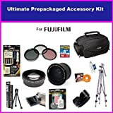 Fuji Finepix Fujifilm FinePix HS10 S9500 S9100 S9000 S6000 Ultimate Accessory Package Package Includes 0.35 Wide Angle Lens, 2X Telephoto Lens, 3 Piece Filter Kit, Flower lens Hood, 4 NIMH AA Batteries & AC/DC Charger, 8GB Memory Card, Tripod, Pro Case &