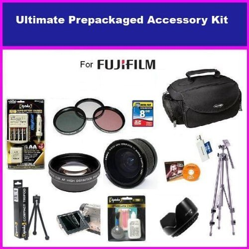 Fuji Finepix Fujifilm FinePix HS10 S9500 S9100 S9000 S6000 Ultimate Accessory Package Package Includes 0.35 Wide Angle Lens, 2X Telephoto Lens, 3 Piece Filter Kit, Flower lens Hood, 4 NIMH AA Batteries & AC/DC Charger, 8GB Memory Card, Tripod, Pro Case & Much More