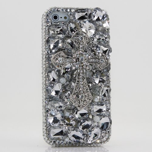 e 7 Case, [Premium Handmade Quality] Bling Genuine Crystals Clear stones with Silver Cross Hybrid Protective Cover for iPhone 8 / 7 by LUXADDICTION (Swarovski Crystal Cross Cell Phone)