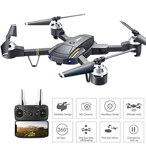 58 Foldable Wifi FPV RC Drone E58 Attitude Hold 2.4Ghz 4CH1080P HD Camera Quadcopter Toys for Adults KIds Christmas Birthday Party Gifts Toy (Multicolor) ()