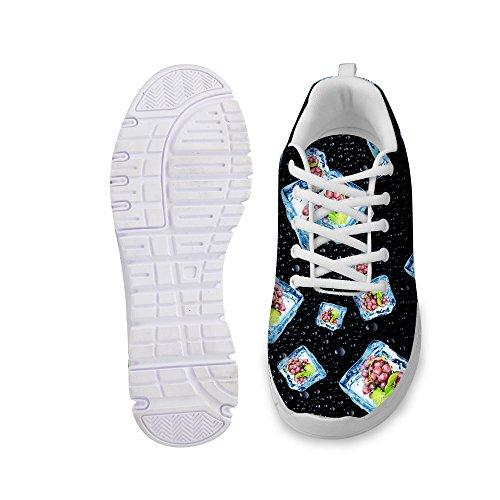 För U Designar Elegant Kvinna Mode Sneaker Spets-up Andas Rejäla Löparskor Svart 5