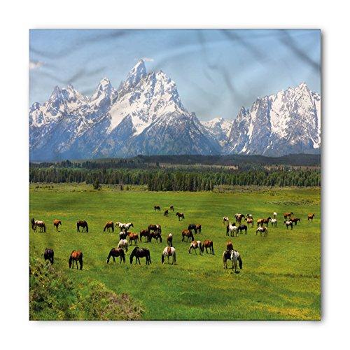 Lunarable Unisex Bandana, Horse Grand Teton National Park, Blue Green