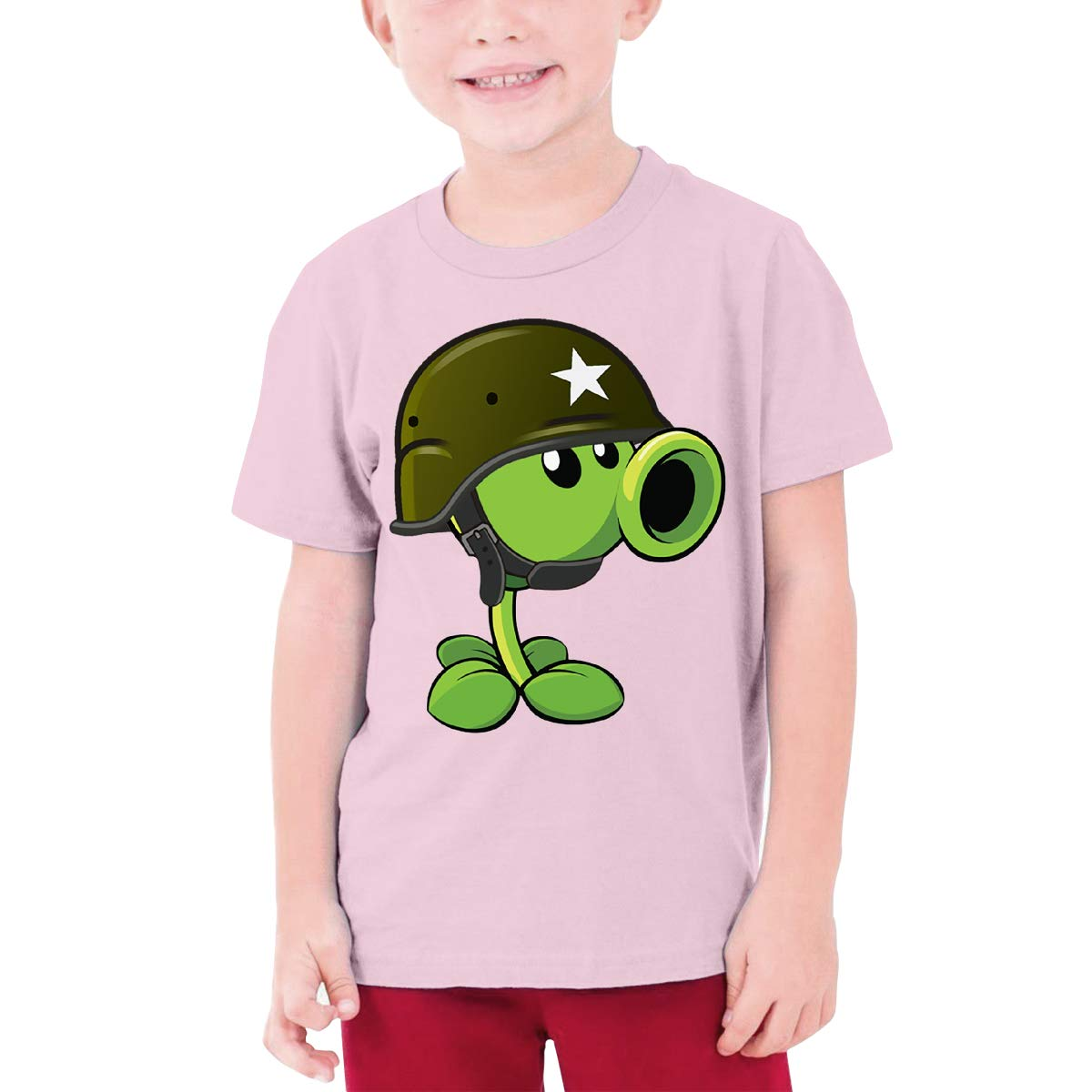 Kaivi Designed T Shirt Plants Vs Zombies Pea Shooter Funny Shirt Short Sleeve for Youngster Black