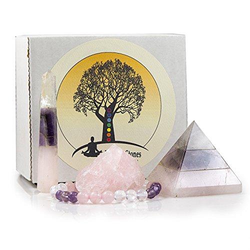 - Energy Infused Trio Healing Crystals Kit Featuring Deep Purple Amethyst, Clear Quartz, and Rose Quartz - Gemstone Pyramid, Raw Crystal Chunk, Bracelet and Crystal Obelisk