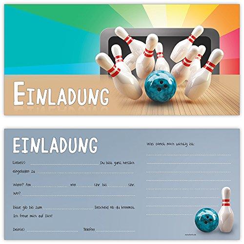 Schön Bowling Einladungskarten Mit Umschlägen (12er Set) Zum Kindergeburtstag Von  BeriluDesign   Kegeln Kinder Geburtstag Einladungen Karten Feier Party  Jungen ...