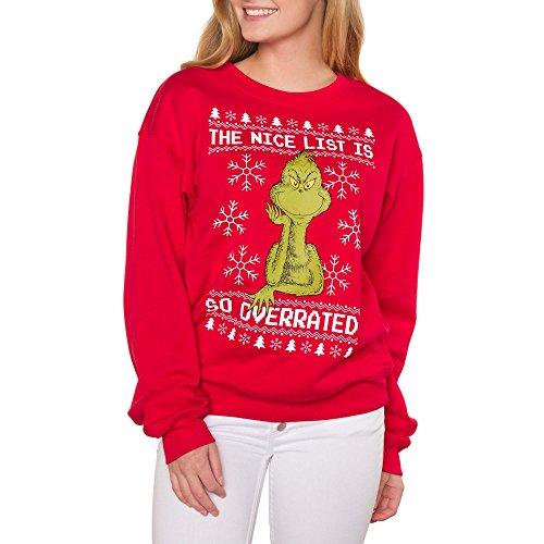 Dr Seuss Character List (The Grinch Juniors Nice List Holiday Graphic Crewneck Sweatshirt (X-Large)