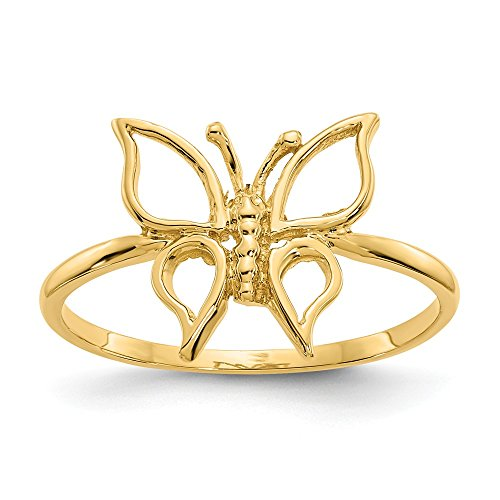 14k Yellow Gold Butterfly Band Ring Size 7.00 Fine Jewelry Gifts For Women For Her