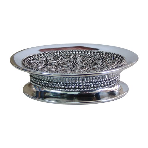 - nu steel BHT3H Beaded Heart Dish, Sink Bar Holder Soap Saver Hand Craft for Kitchen Bathroom Shower and Countertop, Shiny Finish, Small, Chrome