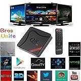 [2016 Latest Tv Box] Bros Unite Q8 Amlogic S905 Android Tv Box Google 5.1 OS Full Loaded Add-ons with Kodi BT WIFI 3D Smart Tv Box Streaming Media Player