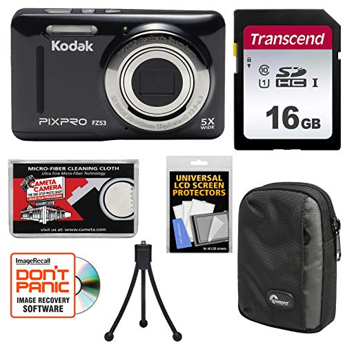 KODAK PIXPRO Friendly Zoom FZ53 Digital Camera (Black) with 16GB Card + Case + Tripod + Kit For Sale