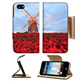 MSD Premium Apple iPhone 5 iphone 5S Flip Pu Leather Wallet Case iPhone5 Christmas star red poinesettia garden and wind turbine flower Image ID 24880281