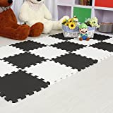 Menu Life Soft Play Mats for Kids Multi-Color EVA Foam Mats Flooring Jiasaw Puzzle Playmat (20pcs, Black & White)