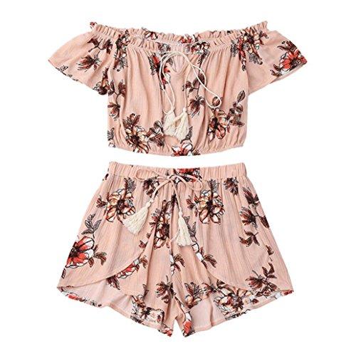 WILLTOO Women's Off Shoulder Short Sleeve Chiffon Floral Print Crop Top and Shorts Set Jumpsuit (Pink, (Cheap Sailor Dress)