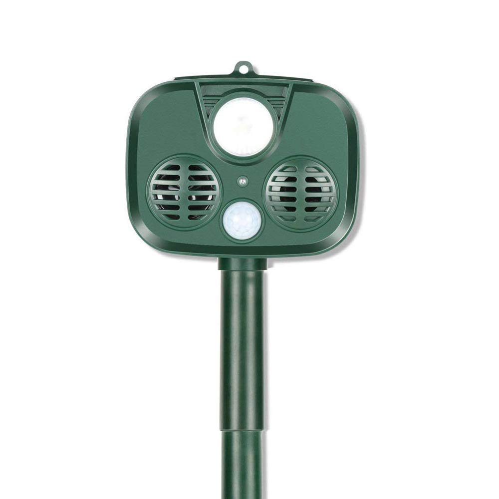 Conlesy Ultrasonic Animal Repeller, Solar Powered Waterproof Outdoor Animal Repellent with Motion Sensor Ultrasonic and Red Flashing Lights Farm Garden Yard Repellent (Green)