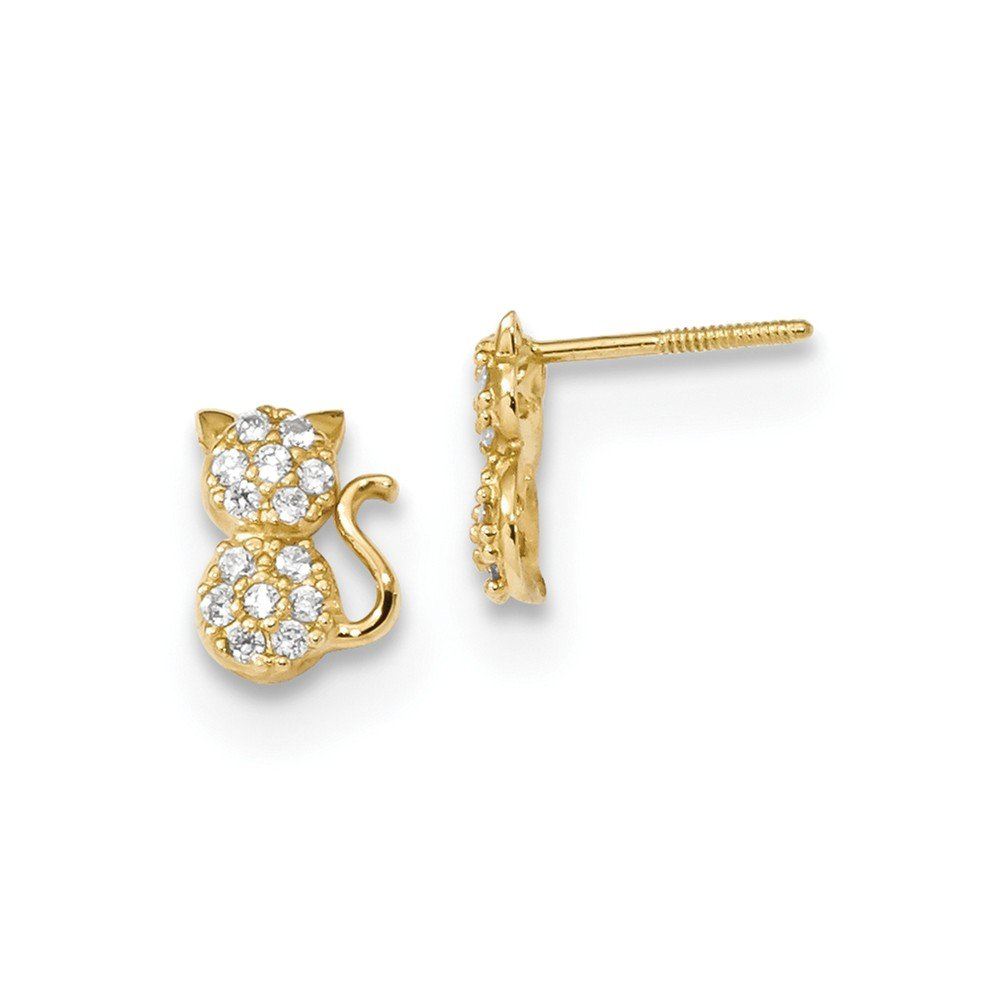 14K Yellow Gold Madi K Polished CZ Sitting Cat Screwback Post Earrings Childrens 5.8 mm 7.88 mm Button Earrings Jewelry