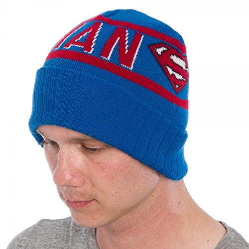 Superman Beanie Cap Text Blue/Red Cuff Hat Toys Licensed kc2uccspm