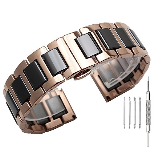 Black Ceramic Watch Band in Rose Gold 20mm Stainless Steel Shiny Watch Strap Deployment Clasp with Push Button