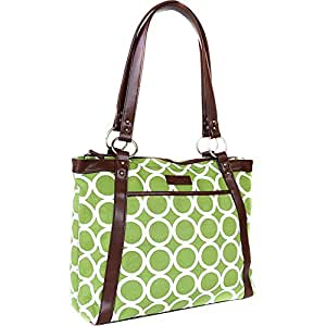 Kailo Chic Pleated Laptop Tote - Green Circles