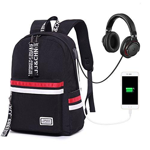 School Backpack Teen Girls Bookbag for Laptop Book Bag Travel Rucksack Daypack for Men Women Boys Girls (Black with USB Port Headphone Jack)