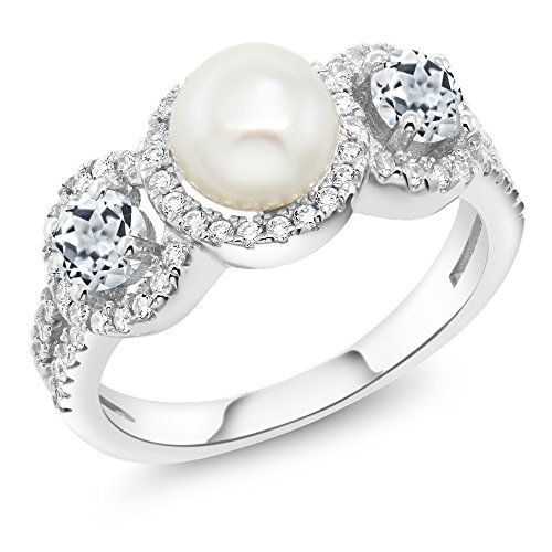 Gem Stone King 1.46 Ct Round Cultured Freshwater Pearl White Topaz 925 Sterling Silver Ring (Size 8) ()