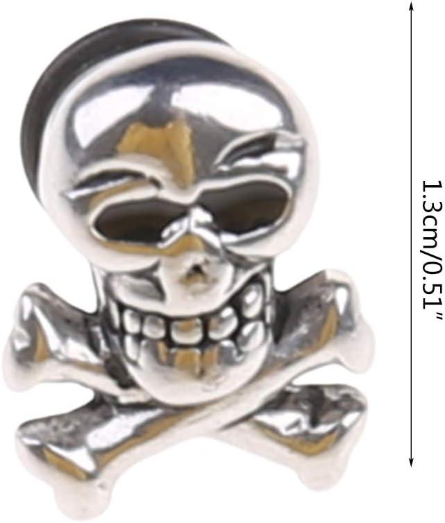 suoryisrty Boucles doreilles 1 x 1,3 cm T/ête de Mort R/étro Piercing Oreille en Acier Titane Anneau Ghost Studs