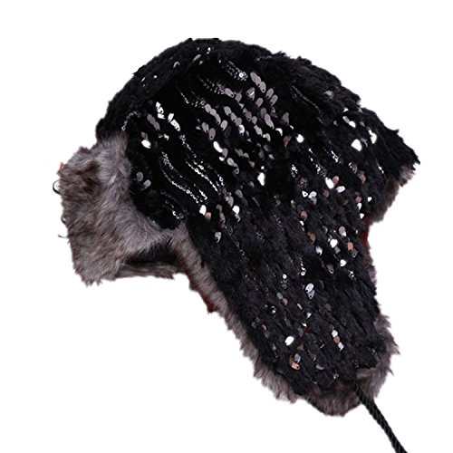 TheWin Lady's Aviator Earflap Cap,Black